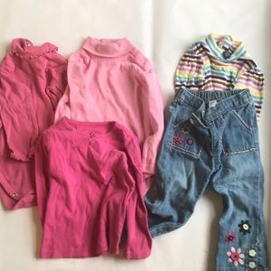 Lot of 5 pieces: girls tops and one bottom.